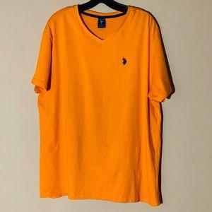 Men US Polo ASSN. V NECK T Shirt Size XL Orange